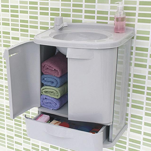Gabinete Armario Plastico Abs Banheiro Branco Gab Fit Astra  R$ 175,00 em Me -> Pia De Banheiro Com Armario De Plastico