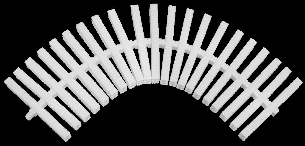 este modelo é utilizado para o escoamento de água em caixas coletoras. Possui um eixo central que permite a instalação tanto em trechos retos quanto com curvas. Indicadas para uso no entorno de piscinas, áreas externas molhadas, saunas, corredores e em locais que necessitam de perfeito escoamento da água.