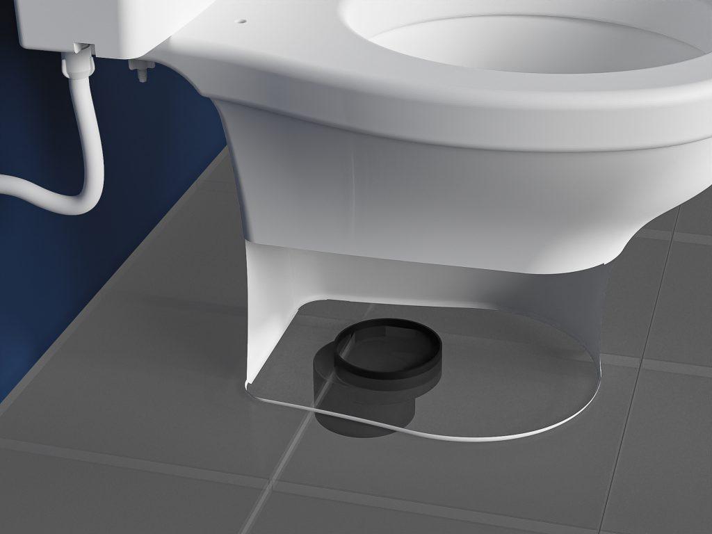 Um vaso sanitário branco aparece instalado sobre um piso cinza. Abaixo dele há uma bolsa excêntrica encaixada no piso.