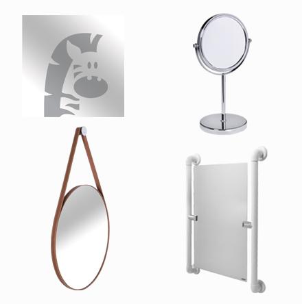 Espelhos decorados, de bancada, inclinável e adnet (pelicano)