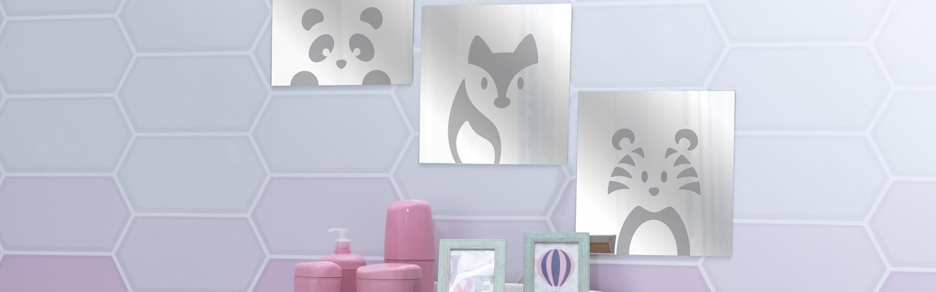 Espelhos decorados, de bancada e inclinável