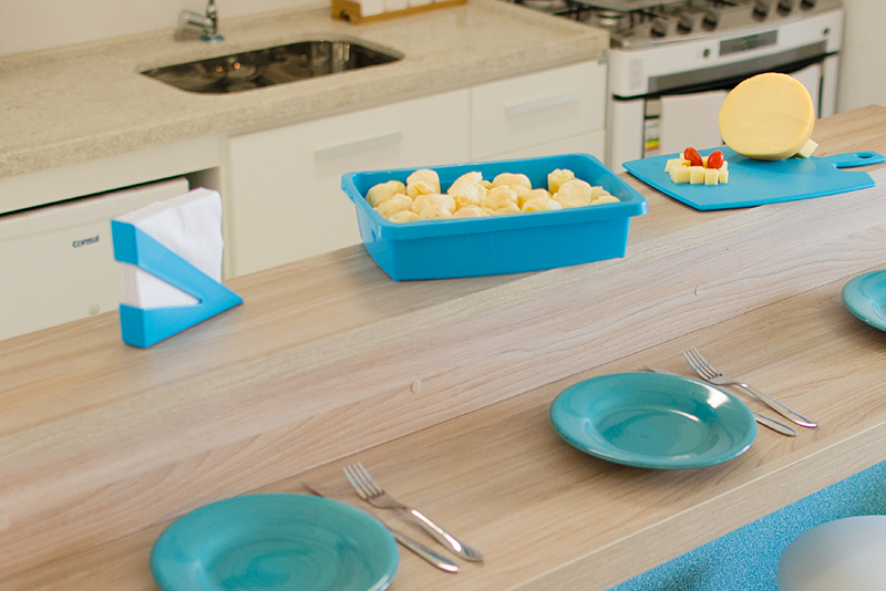 Imagem meramente ilustrativa. Porta-guardanapos ambientado na cozinha.